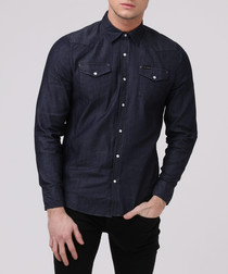 exit dark blue denim shirt