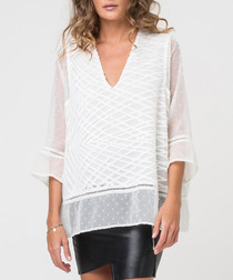 Pulse white embroidered sheer blouse