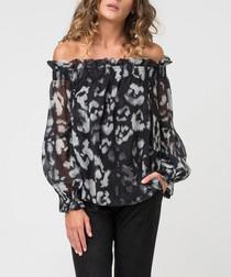 Admire rebel print off-the-shoulder top