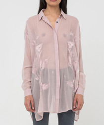 Scene sheer peach whip shirt