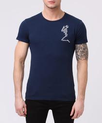 praying skeleton navy cotton T-shirt