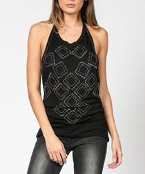 Enterprise jet black halter-neck top
