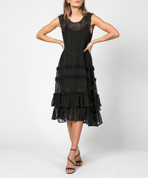 Fate jet black ruffle midi dress