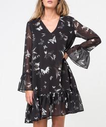 Serene wander print bell sleeve dress
