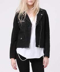 Divide jet black biker jacket