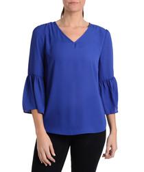 blue V-neck bell-sleeve top