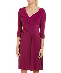 berry V-neck wrap dress