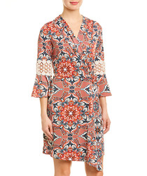 westcoast floral brocade wrap dress