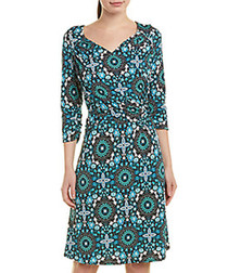 turquoise floral brocade dress