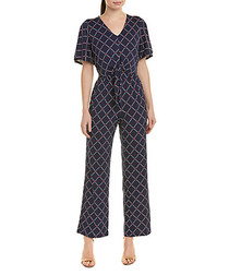 navy zircondot check jumpsuit