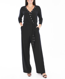 black relaxed wrap jumpsuit