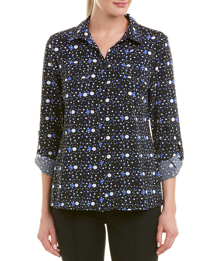 night sky tile check button blouse Sale - new york collective