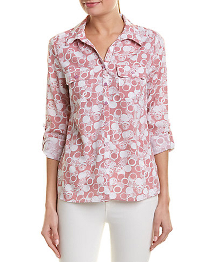 pale red circles button blouse Sale - new york collective