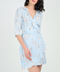 Powder blue blossom wrap dress