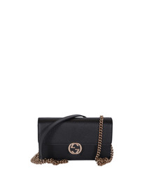 GG black leather crossbody bag