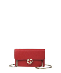 GG red leather crossbody bag