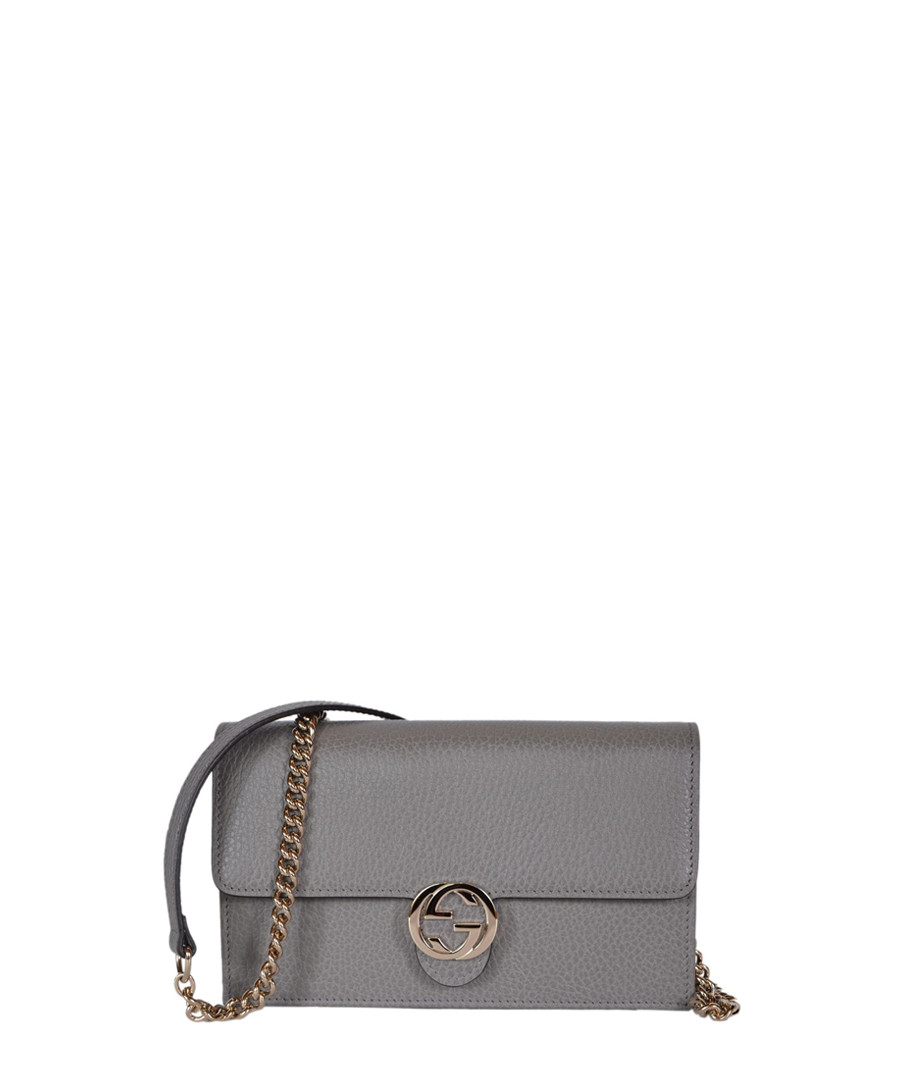 GG grey leather crossbody bag Sale - gucci