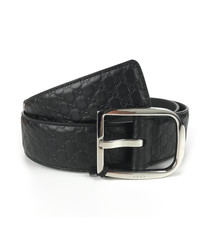 Microguccissima black leather belt