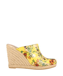 Yellow floral mule wedges