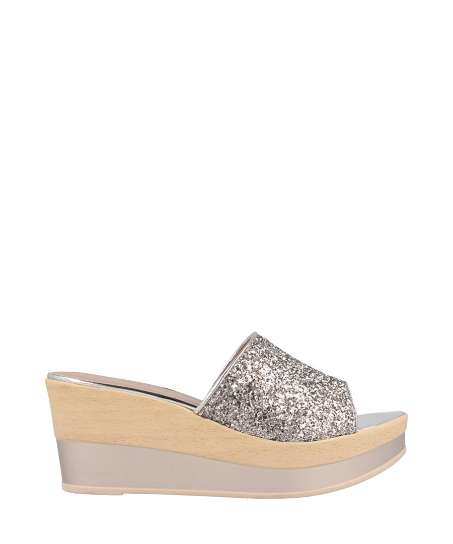 Dark silver glitter slip-on wedges Sale - roberto botella
