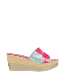 Pink & blue floral slip-on wedges