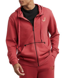 red pure cotton zip hoodie
