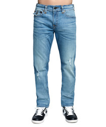 mid blue cotton relaxed jeans