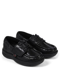 Reasan Boat Strap black leather shoes