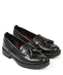Lachly black leather tassel loafers