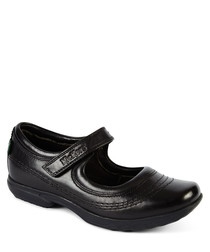 Keavy black leather strap shoes