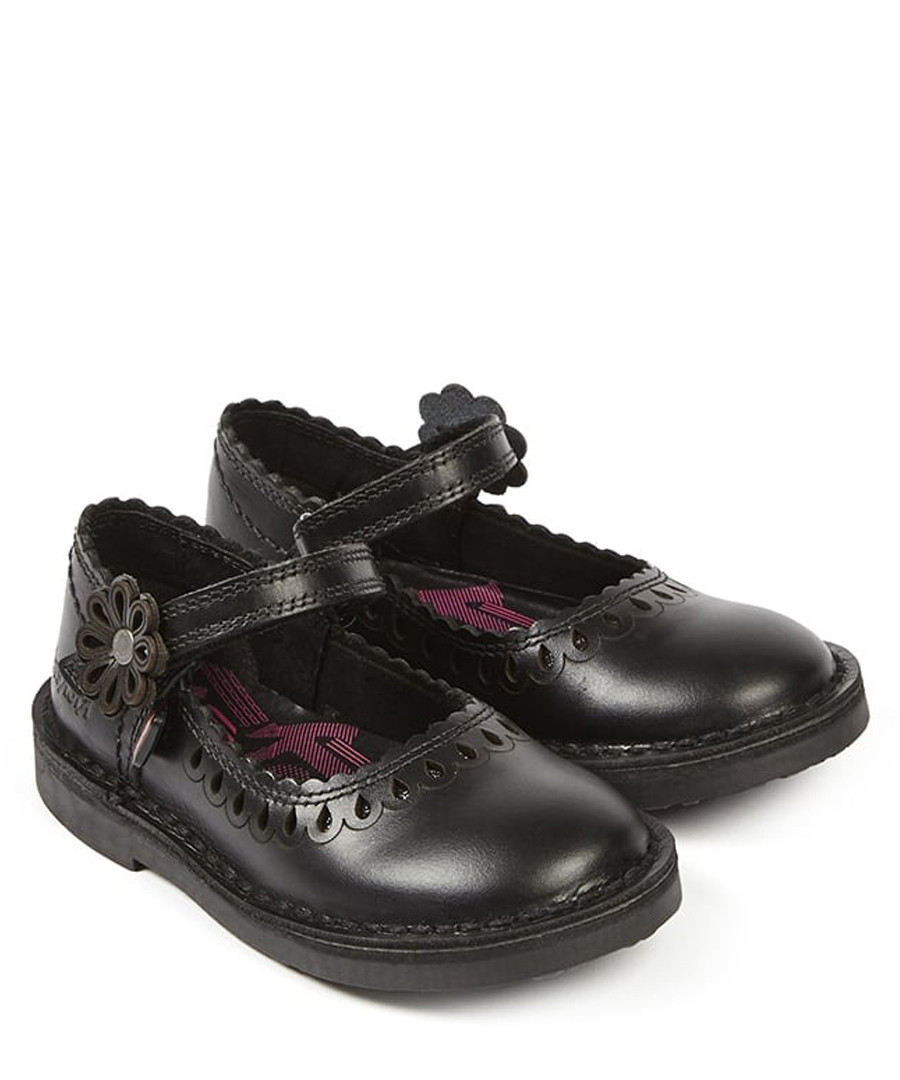 Adlar black leather petal hem shoes Sale - KICKERS