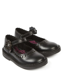 Adlar black leather petal hem shoes