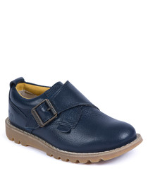 Kymbo navy leather monk shoes