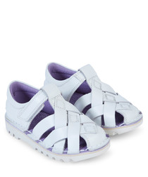 Baby blue leather crossover sandals