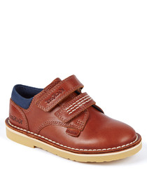 Brown leather two-strap shoes