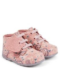Pale pink leather doodle boots