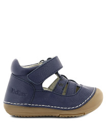 Navy leather mid strap shoes