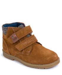 Camel suede two-strap boots