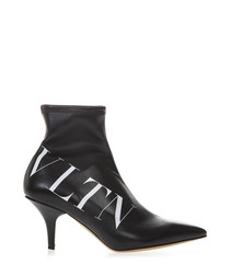 VLTN black faux leather ankle boots