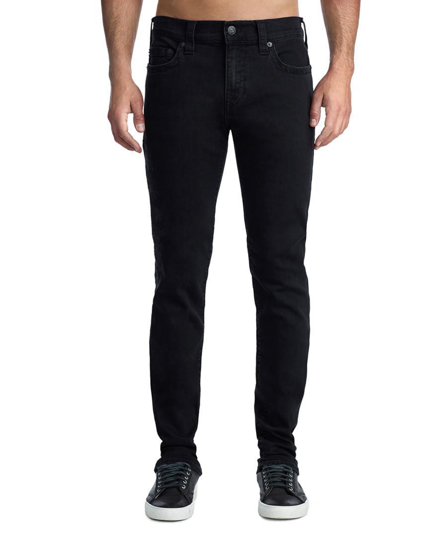 black cotton blend slim jeans Sale - true religion
