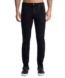 black cotton blend slim jeans