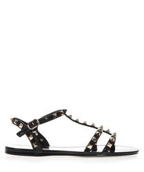 Rockstud black rubber sandals