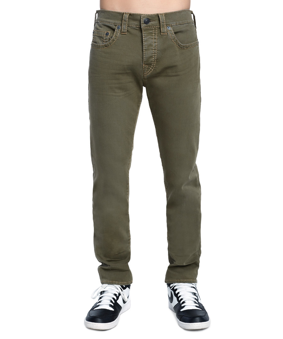 Olive green straight jeans Sale - true religion