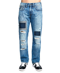 Mid wash cotton patch relaxed jeans