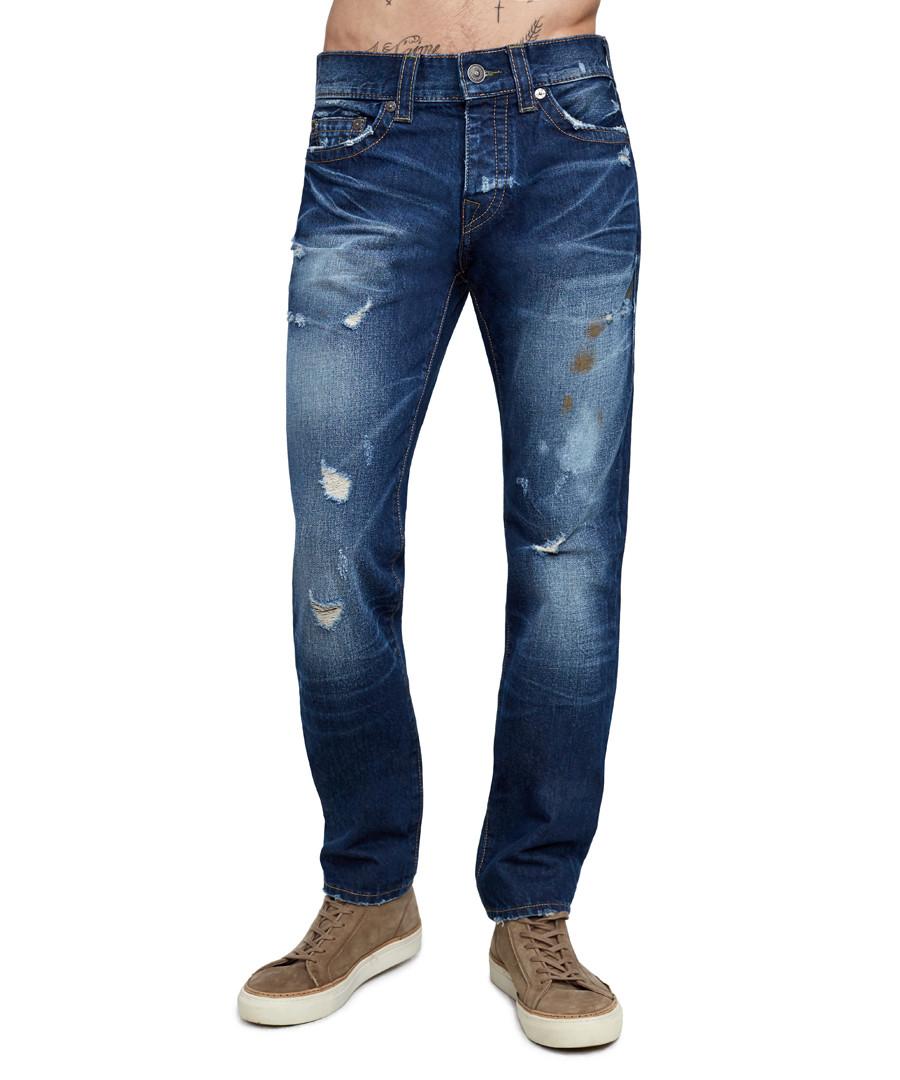dark wash cotton & hemp straight jeans Sale - true religion