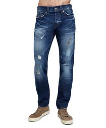 dark wash cotton & hemp straight jeans
