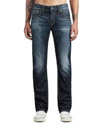 dark wash pure cotton straight jeans