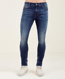 dark wash cotton blend slim jeans