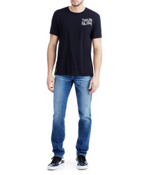 mid wash pure cotton straight jeans