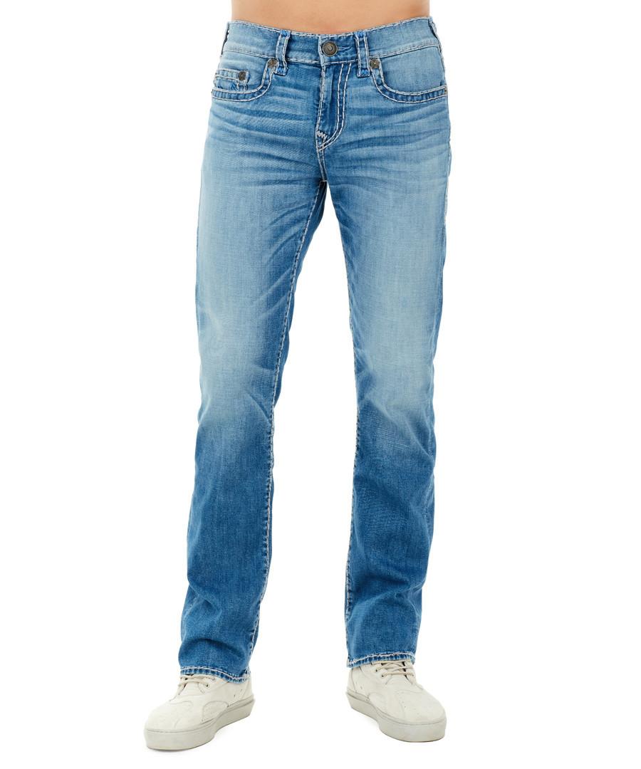 mid wash cotton straight jeans Sale - TRUE RELIGION
